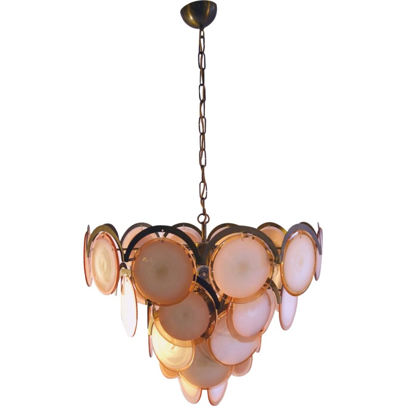 Pink Lavender Murano Glass Disc Chandelier 1970's