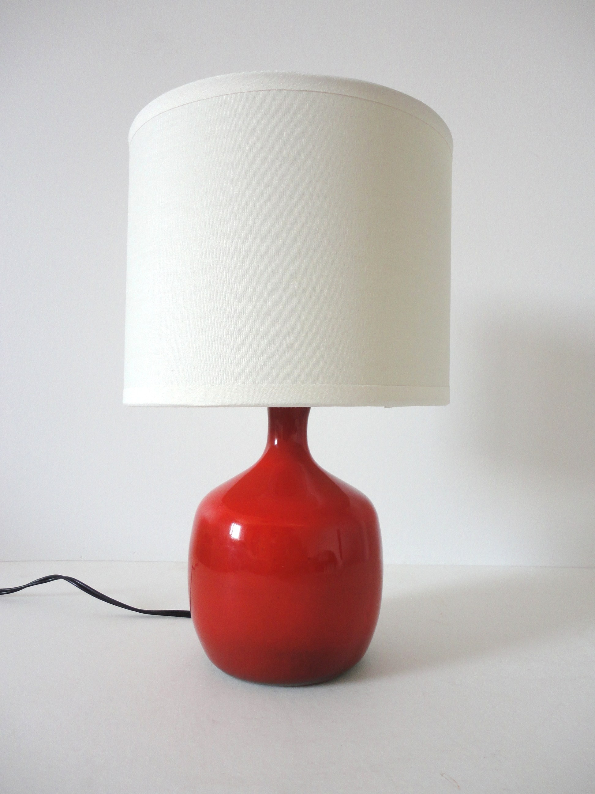 Red Ceramic Table Lamp Jacques And Dani Ruelland 1950s