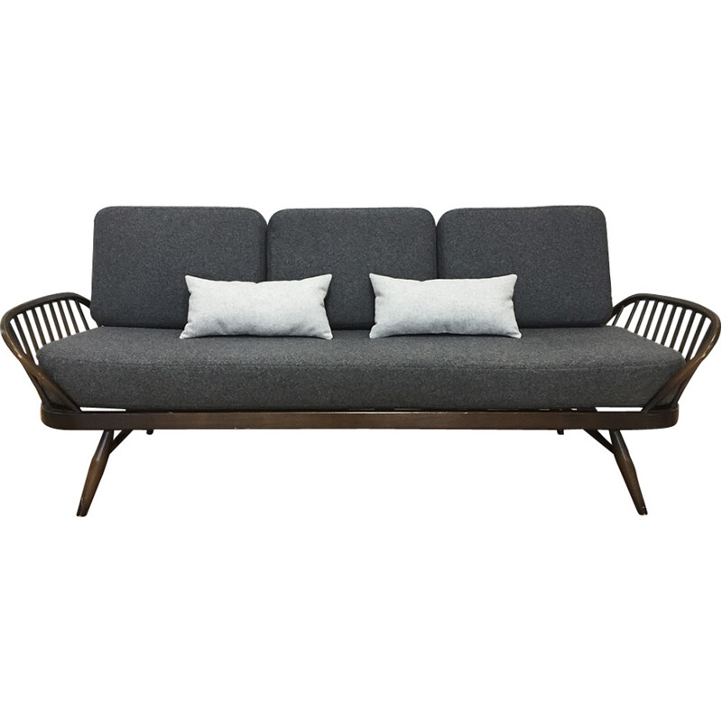 Mid-century Ercol Sofa Daybed Reupholstered In Grey Wool - 1970s