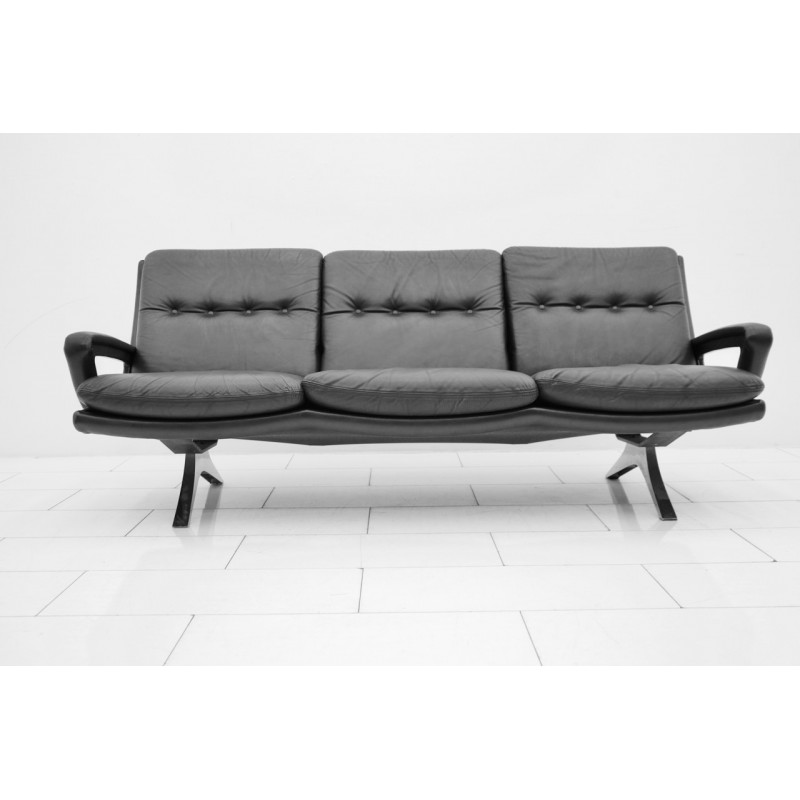 Vintage Black Leather Sofa By Strässle   1970s
