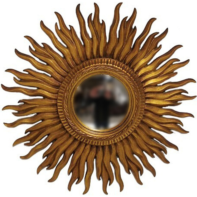 "Gilded Wood Sun Mirror ""Witch's Eye"" - 1960s"