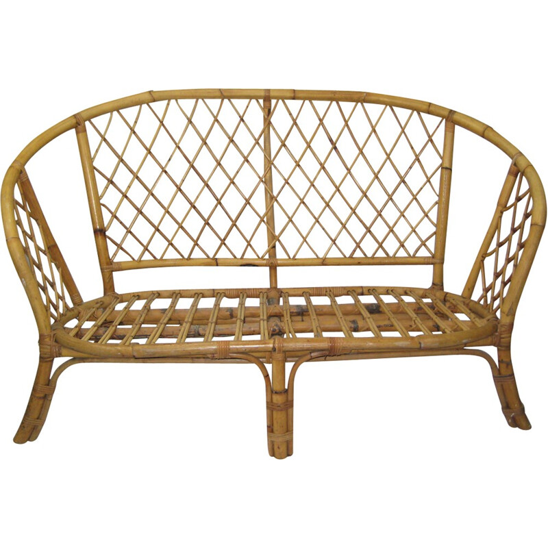 Vintage french rattan bench - 1970s