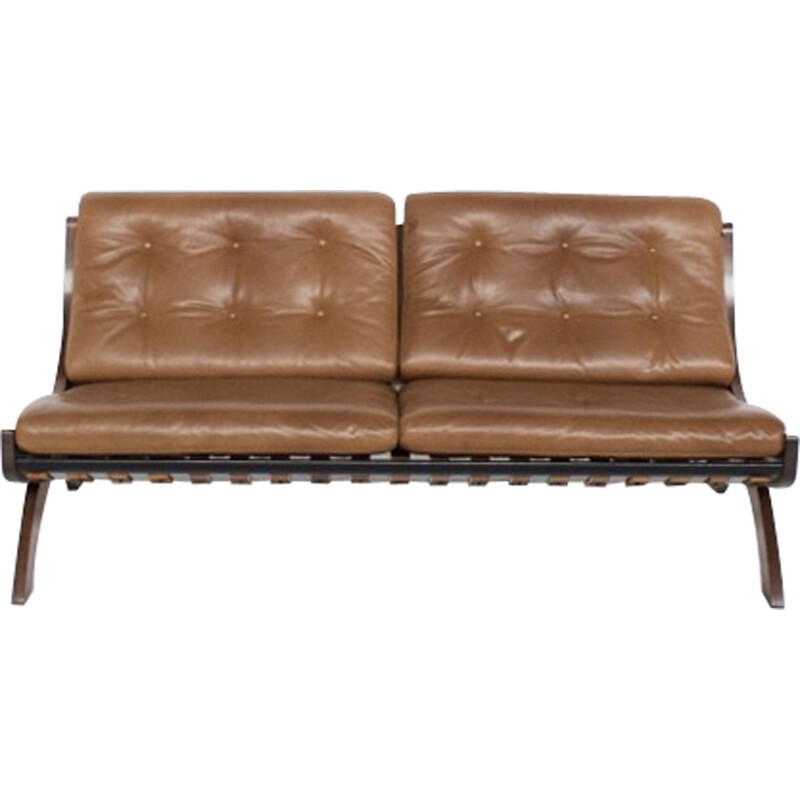 CD1 walnut and leather sofa by Marco Comolli - 1960s