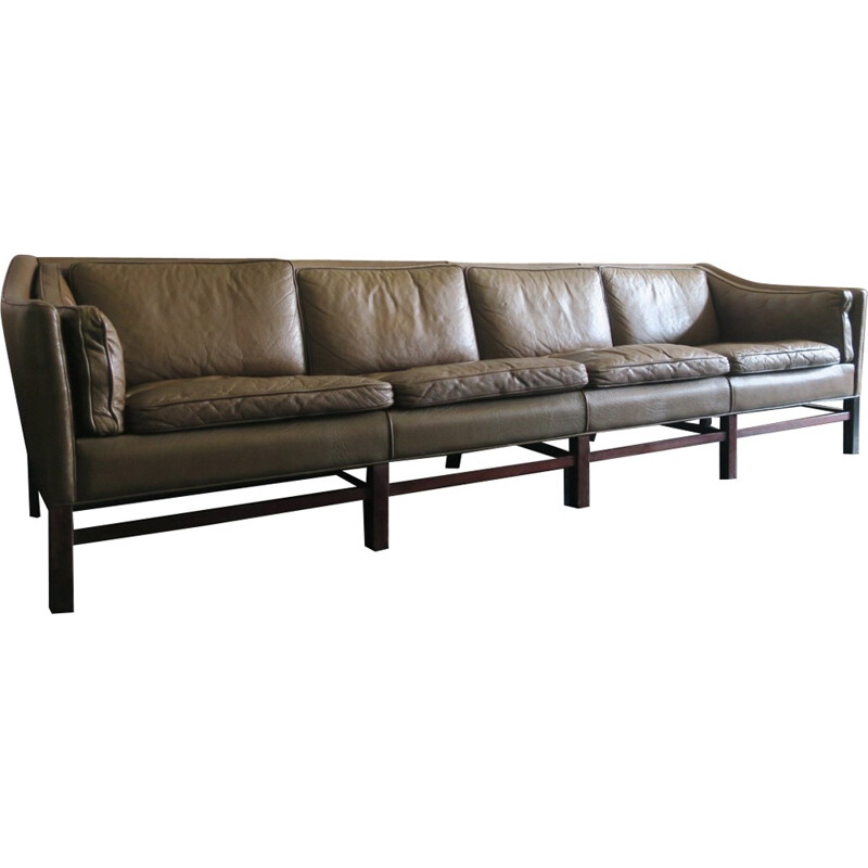 Danish Rosewood and Olive Green Leather Four Seater Sofa - 1960s