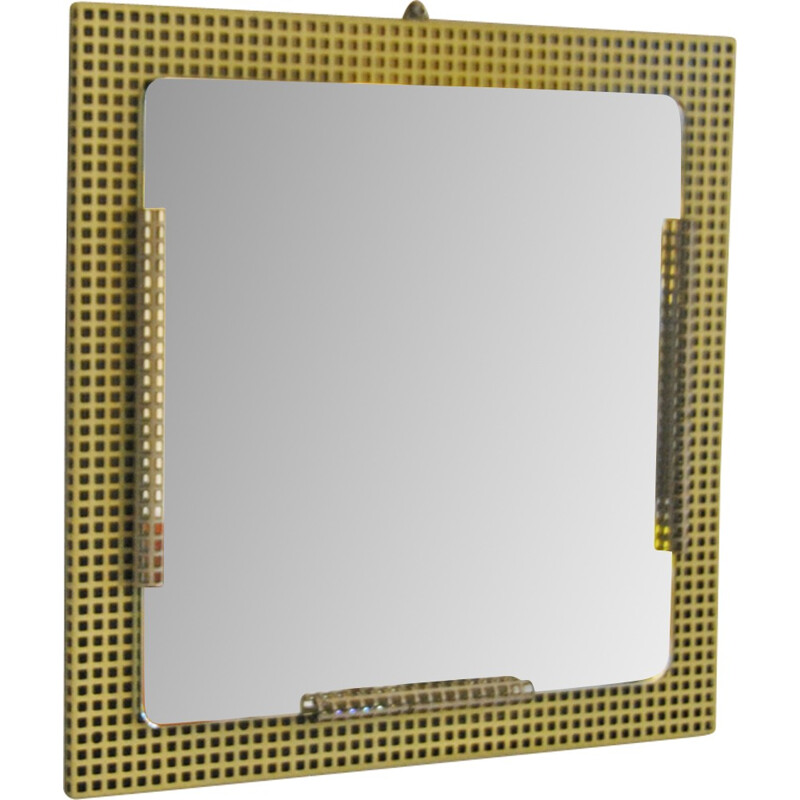 Vintage square mirror in perforated metal - 1950s
