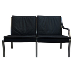 2 seats sofa in leather and stell, FABRICIUS & KASTHOLM - 1970s