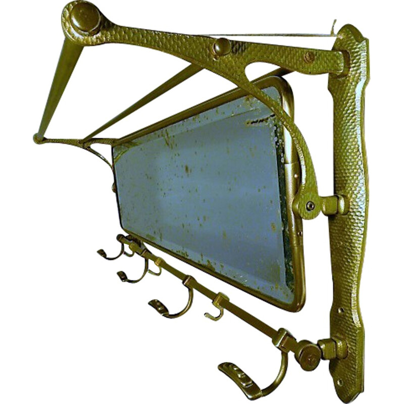 Mid-century wall cloathing rack with mirror - 1920s