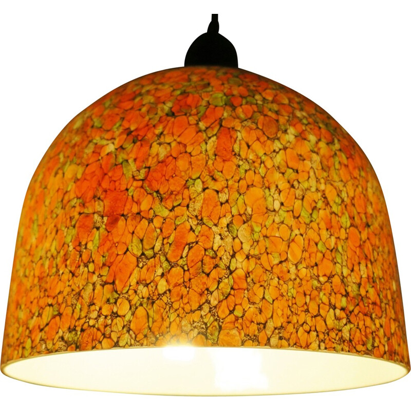 "Vintage pendant lamp ""Murano"" in dome-Shaped mottled Glass - 1960s"