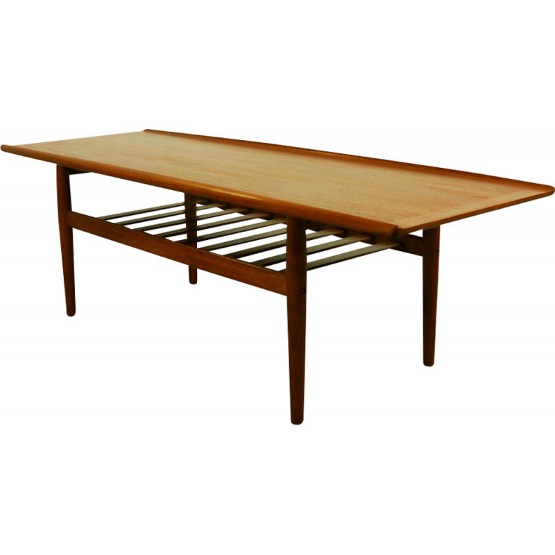 Vintage Surfboard Coffee Table In Teak By Grete Jalk For Glostrup  Möbelfabrik   1960s