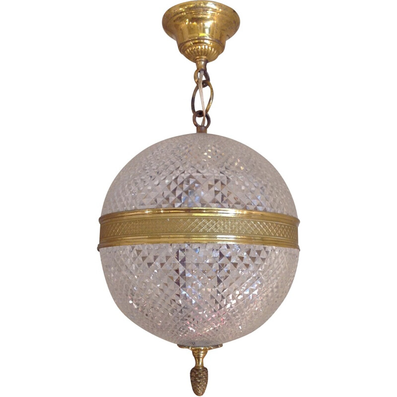 Ball pendant lamp in crystal and brass - 1960s