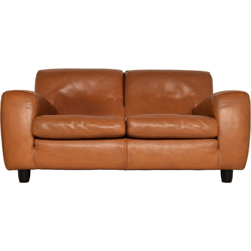 Mid-century Fatboy Two-Seater Leather Sofa from Molinari - 1980s