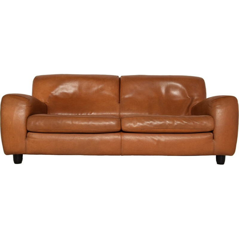Mid-century Fatboy Natural Cognac Leather 2-Seater Sofa from Molinari - 1980s