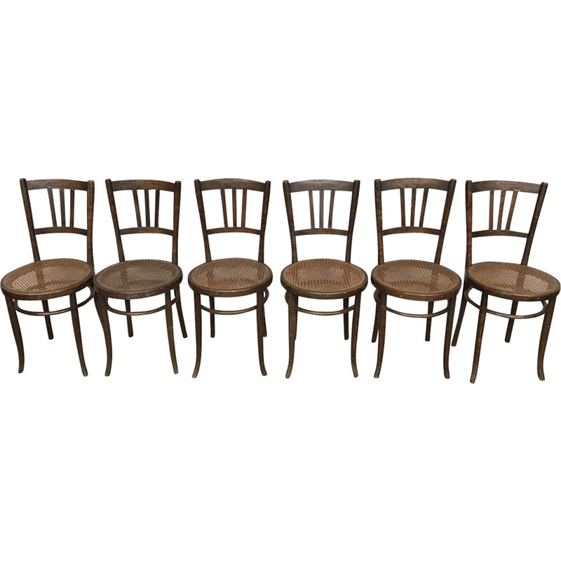 Vintage set of 6 bentwood dining chairs by dlg luterma - 1950s