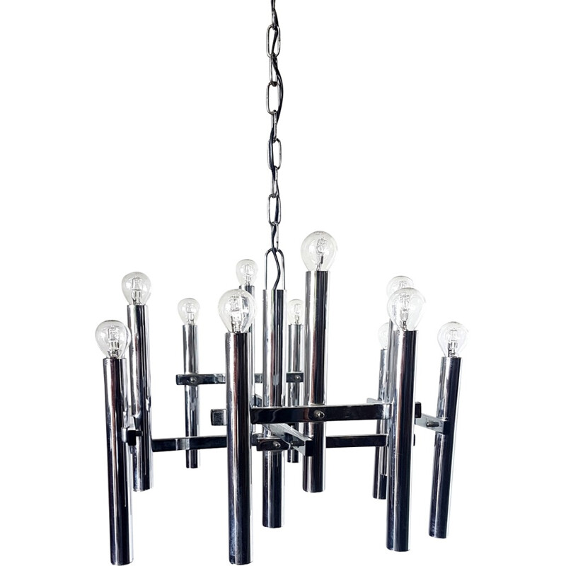 Vintage 12 light chandelier by Gaetano Sciolari - 1970s