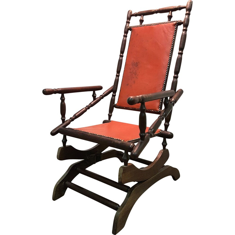 Vintage scandinavian rocking chair with patinated leather - 1950s