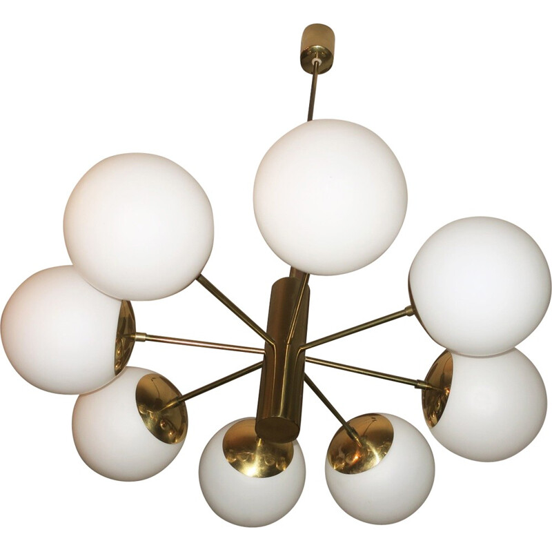 Mid-century Italian Brass and Glass Chandelier with Eight Radiating Arms - 1970s