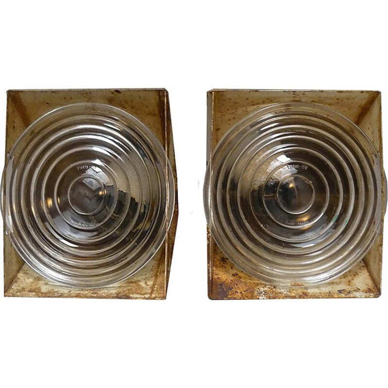 Set of 2 wall lamps in sheet metal and glass by Holophane - 1970s