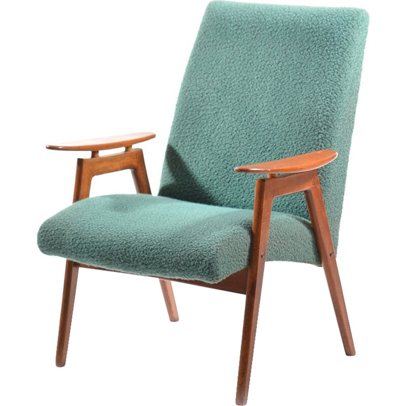 Green vintage Armchair by Ton - 1960s