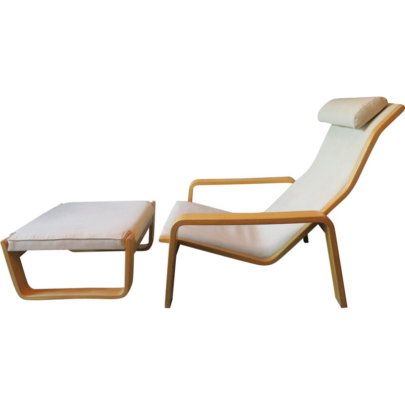 Lounge Chair with Footrest by Ilmari Lappalainen for Asko Pulkka - 1960s