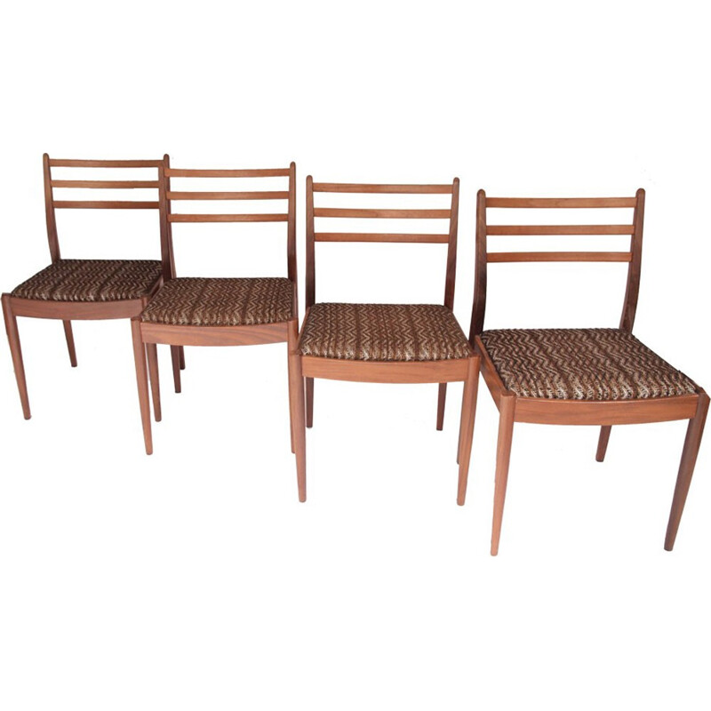 Set of 4 vintage chairs in brown fabric - 1960s