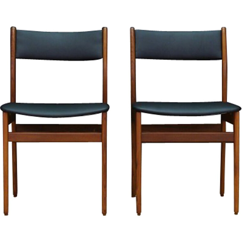 Pair of vintage scandinavian teak and leather chairs - 1960s