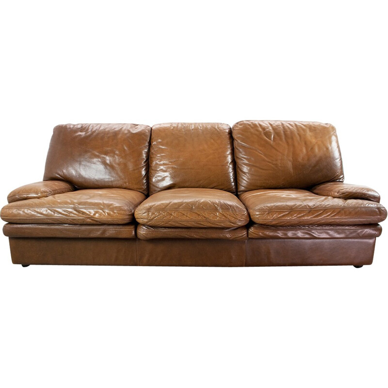 Vintage leather 3 seater sofa - 1960s