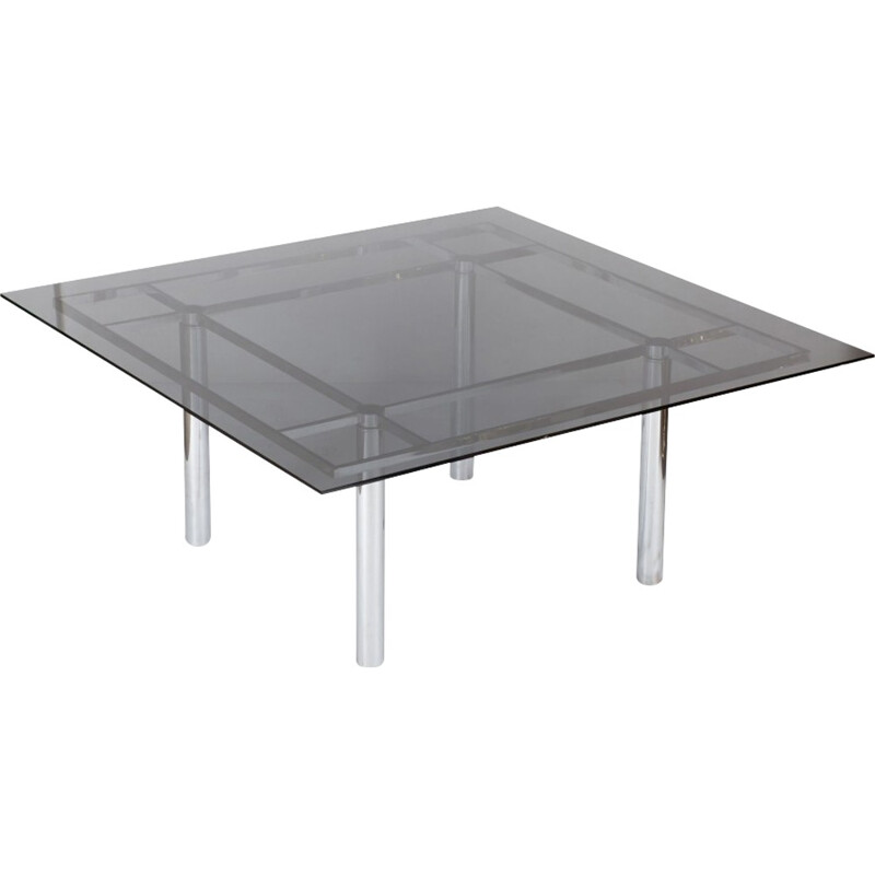 Vintage Large Square Chrome Dining Table Model André by Tobia Scarpa for Knoll International - 1970s