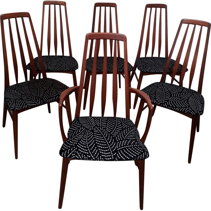 "Vintage set of 5 ""Eva"" scandinavian chairs and one armchair by Niels Koefoed for Koefoed Hornslet - 1960s"