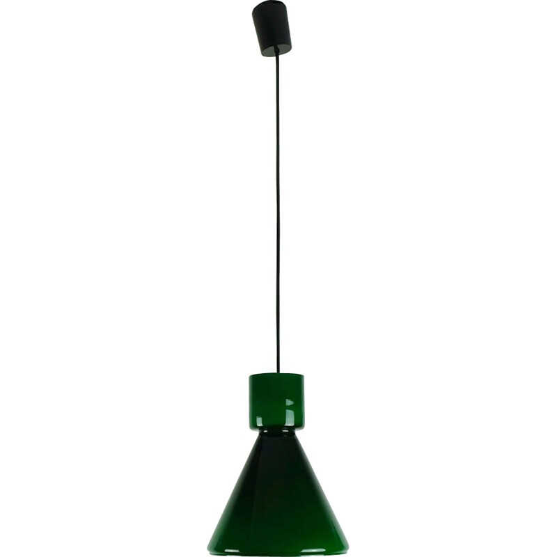 Vintage green glass pendant lamp by Glashütte Limburg - 1970s