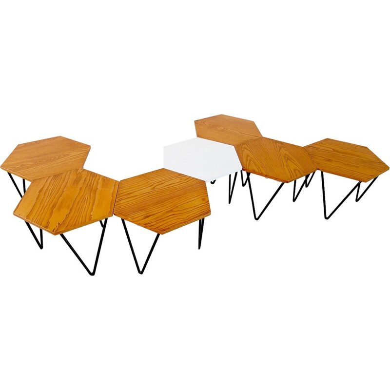 Vintage set of 7 Modular Coffee Tables by Gio Ponti for I.S.A. - 1950s