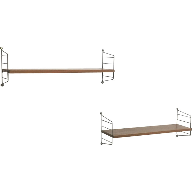 Set of 2 Mid-century Swedish Walnut Wall Units by Nisse Strinning for String - 1960s