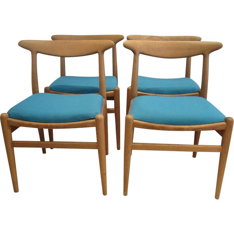 """Set of 4  """"W2"""" chairs by H.Wegner - 1950s"""