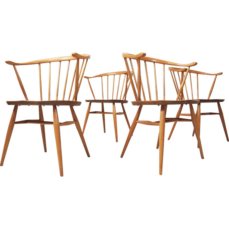 Set of four beech and English elm Cow horn chairs for Ercol - 1960s
