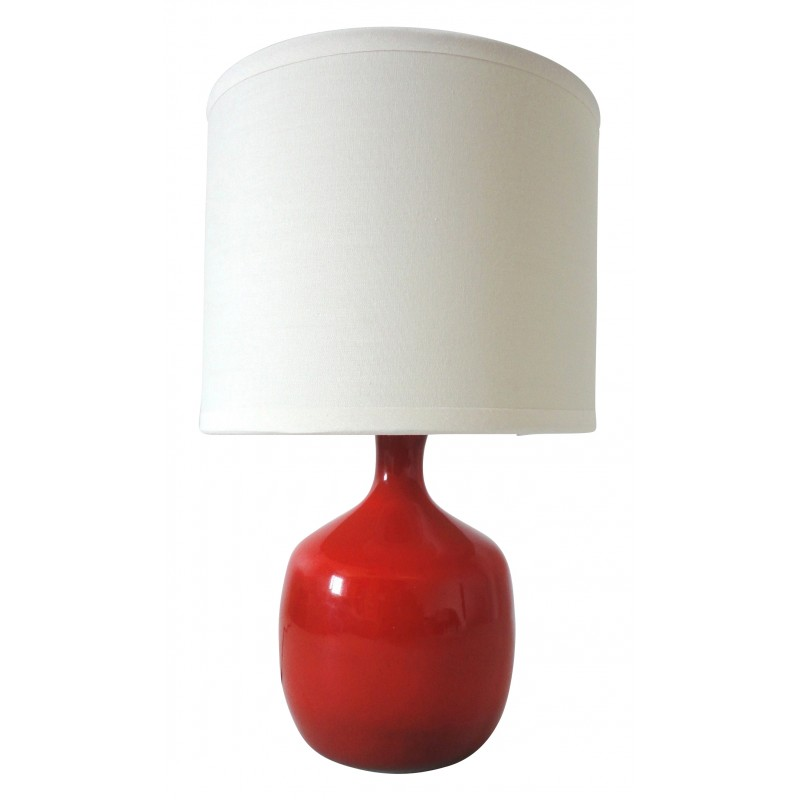 Red Ceramic Table Lamp, Jacques And Dani RUELLAND   1950s