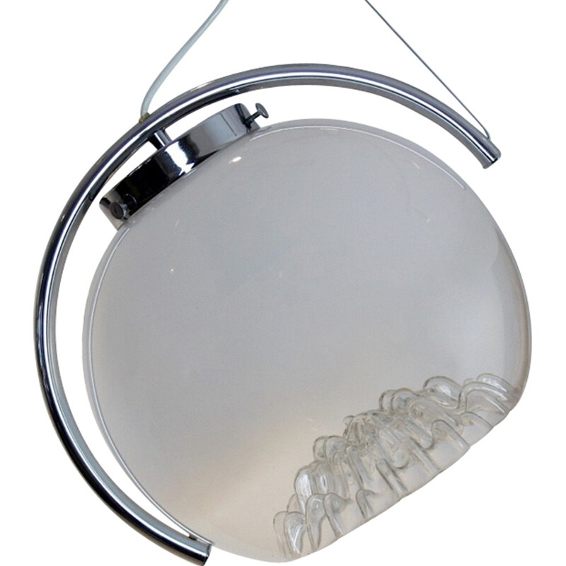 Mid-century Chrome and Frosted Glass Moon Pendant lamp for A.V. Mazzega, Italy - 1970s