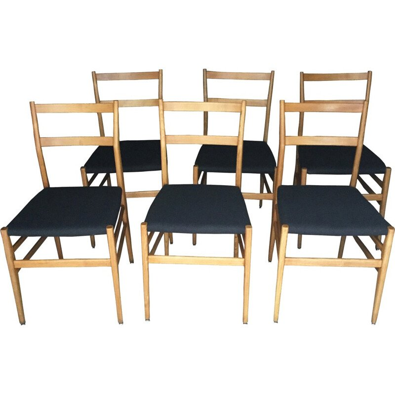 Set of six chairs Leggera by Gio Ponti for Cassina - 1960s