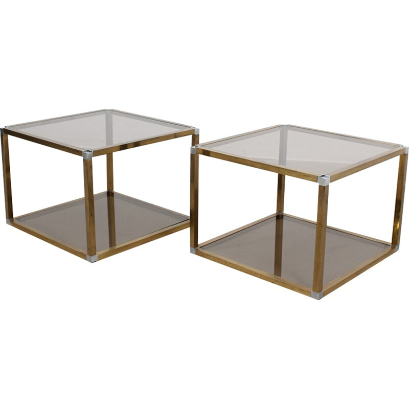 Vintage Pair of Brass and Glass Coffee Tables by Romeo Rega - 1970s