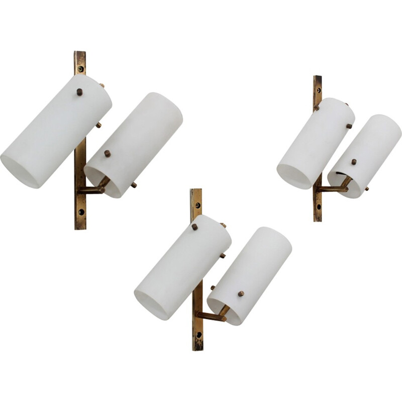 Vintage set of 3 opaline and brass wall lamp by STILUX Milano - 1950s