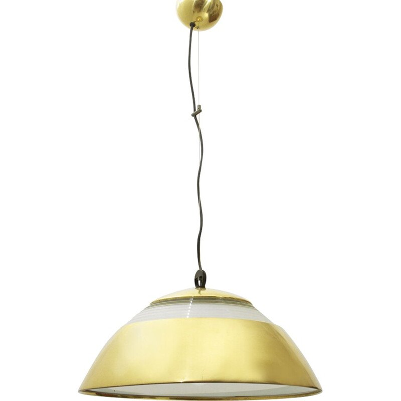 Vintage brass and glass pendant lamp - 1960s