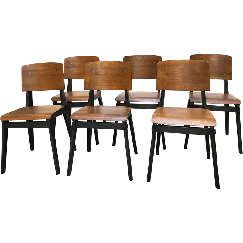 Suite of 6 chairs in natural wood and blackened wood