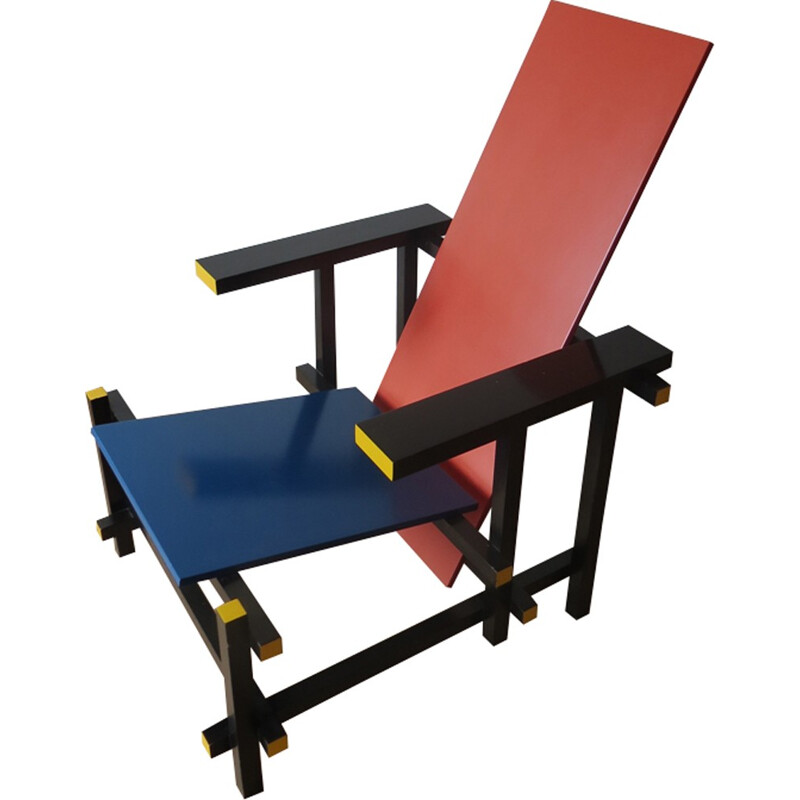 Vintage Red and Blue chair by Gerrit Rietveld for Cassina - 1970s