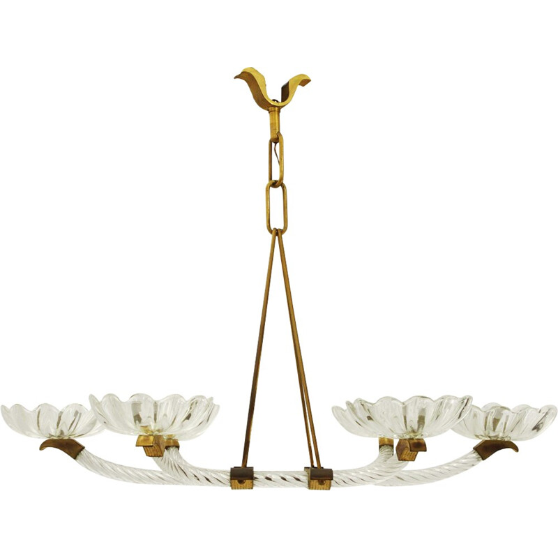 Mid-century Italian murano glass and brass chandelier with six arms - 1940s