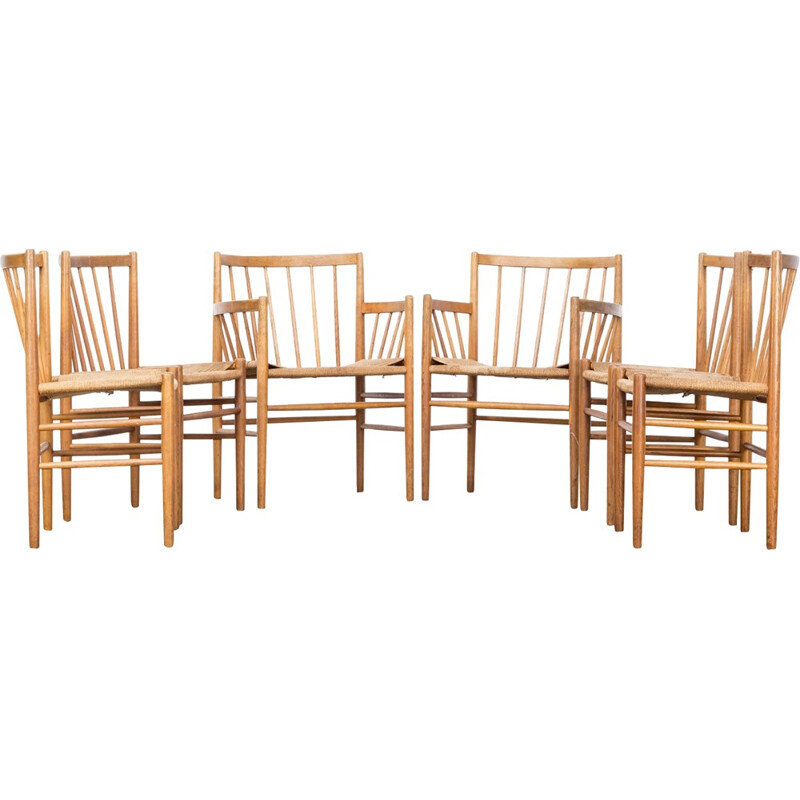 Set of six mid-century dining chairs by Jørgen Baekmark for FDB Mobler - 1950s