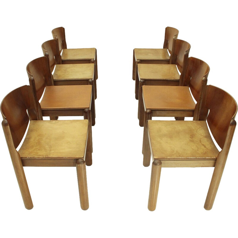 Set of 8 Mid-century Model 122 dining chairs with leather seat by Vico Magistretti for Cassina - 1960s
