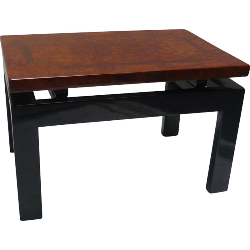 Mid-century Black lacquered coffee table and wooden top of elm and marquetry - 1980s