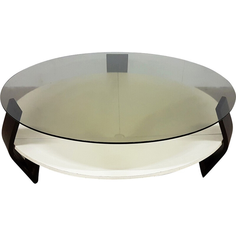 Mid-century Space age coffee table in plywood and smoked glass - 1970s