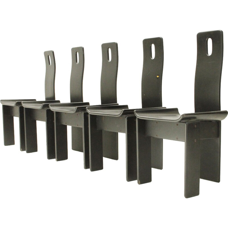 Set of 5 Mid-century Italian Black lacquered chairs - 1980s