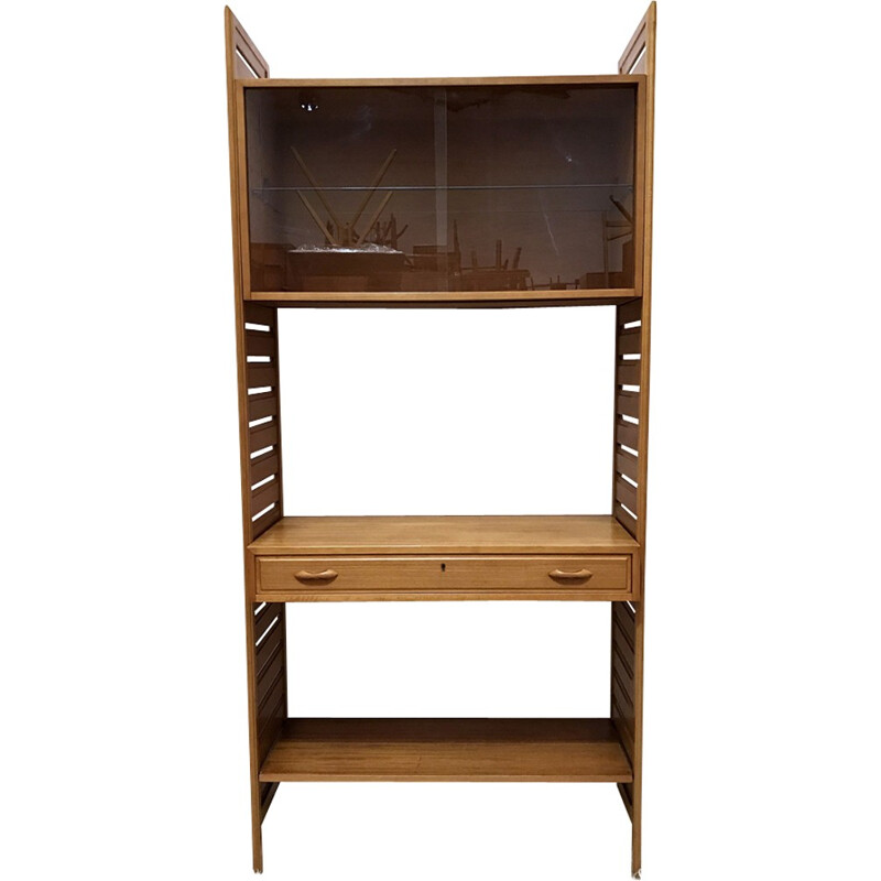 Mid Century vintage teak wall shelving unit system for Staples Ladderax - 1960s