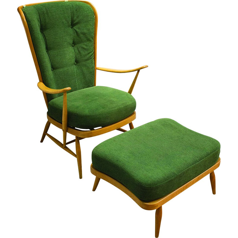 Windsor 478 armchair with ottoman by Lucian Ercolani for Ercol - 1950s