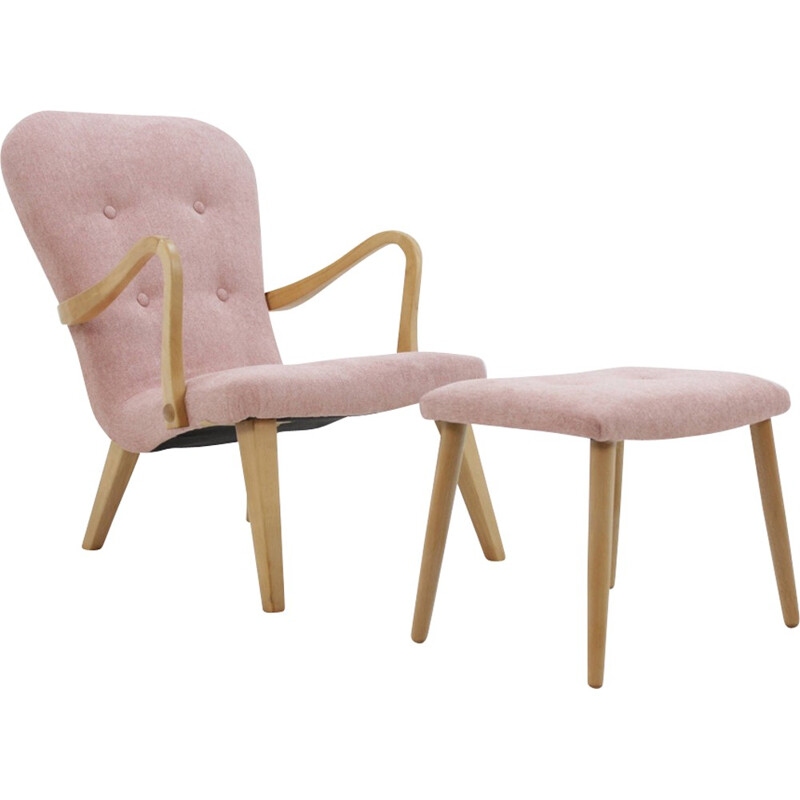 Danish vintage Oak Lounge Chair With Stool - 1960s